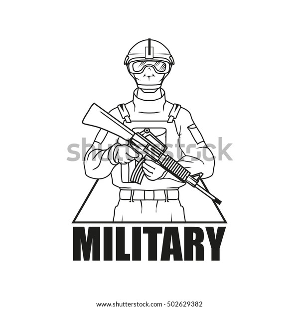 Military Drawing Vector Logo Icon Clipart Stock Vector