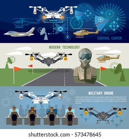 Military drone, modern army aviation and weapons. Fighting flying robots, war technology of future. Fighter aircraft, helicopters, quadrocopters military drones, powerful army control center