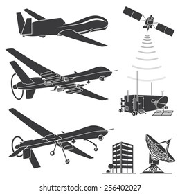 Military drones. Vector illustration.