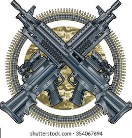 military emblem with crossed light machine guns and ammunition belts