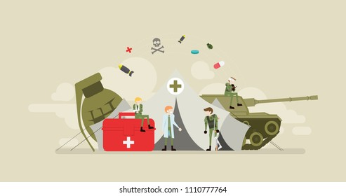 Military Emergency Clinic Tiny People Character Concept Vector Illustration, Suitable For Wallpaper, Banner, Background, Card, Book Illustration, Web Landing Page, and Other Related Creative
