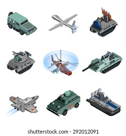 Military equipment isometric set with helicopter armored vehicle truck isolated vector illustration