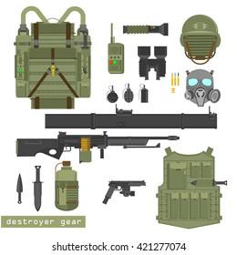 Military equipment vector illustration on white background. Helmet, jacket, knife, grenades, shells, pistol, rifle. Modern military combat gear ammunition. Flat style, equipment items set.