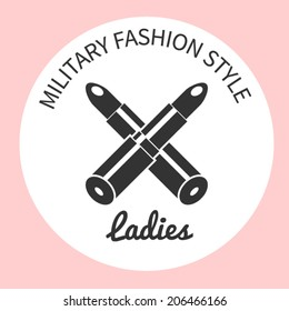 Military fashion style lipstick,  isolated abstract vector illustration. Design for stickers, logo, web and mobile app. Print for clothes fashion style pomade