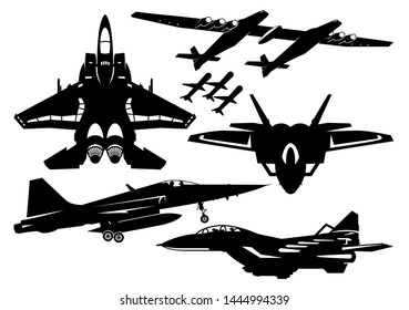 Military Fighter Aircraft, Jet Aircraft Vector Illustration Silhouette