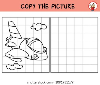 Military fighter jet aircraft. Copy the picture. Coloring book. Educational game for children. Cartoon vector illustration