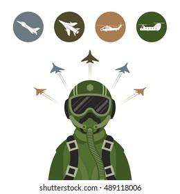 Military Fighter Jet Pilot with Military Aircraft Icons and Symbols