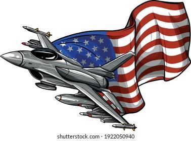 Avions de chasse avec drapeau américain. Illustration vectorielle
