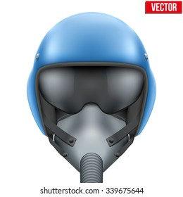 Military flight fighter pilot blue helmet of Air Force with oxygen mask. Vector illustration isolated on white background.