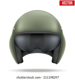 Military flight helicopter helmet. Vector illustration isolated on white background.