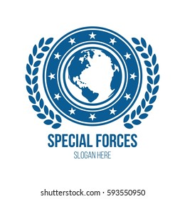 Military globe and shield theme logo design