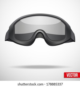 Military green helmet and goggles vector illustration. Metal army symbol of defense. Isolated on white background. Editable.