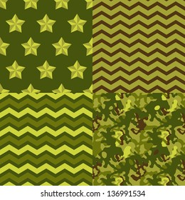 Military green seamless patterns set: camo, chevron, stars. Vector background.