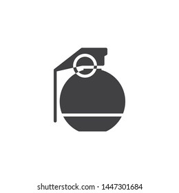 Military grenade vector icon. filled flat sign for mobile concept and web design. Ball grenade glyph icon. Ammunition symbol, logo illustration. Vector graphics