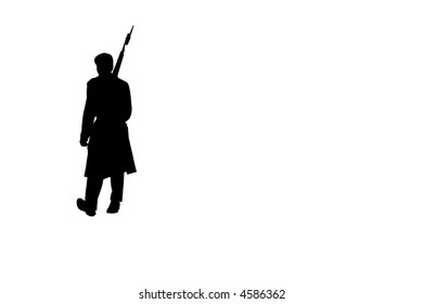 Military guard marching silhouette
