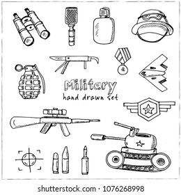 Military hand drawn doodle set. Sketches. Vector illustration for design and packages product. Symbol collection.