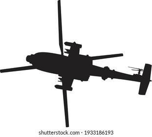 military helicopter, gunship silhouette illustration on white