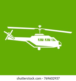 Military helicopter icon white isolated on green background. Vector illustration