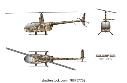 Military helicopter in realistic style on white background. Top, side, front view. Army air vehicle. Vector illustration