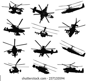 Military helicopter silhouettes set. Vector on separate layers