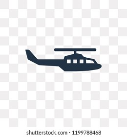 Military helicopter vector icon isolated on transparent background, Military helicopter transparency concept can be used web and mobile