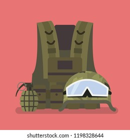 Military helmet vest and hand grenade. Vector illustration