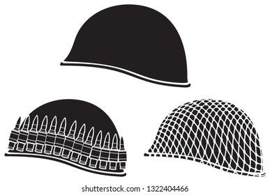 military helmets vector icons set