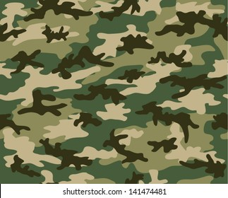 Military and hunting camouflage seamless pattern. Four green shades.