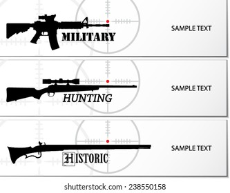 military hunting and historic guns banner / vector illustration eps10