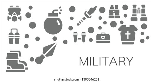 military icon set. 11 filled military icons.  Collection Of - Gas mask, Bomb, Nunchaku, Binoculars, Boots, Carrier, Weapon, Kunai, Armour