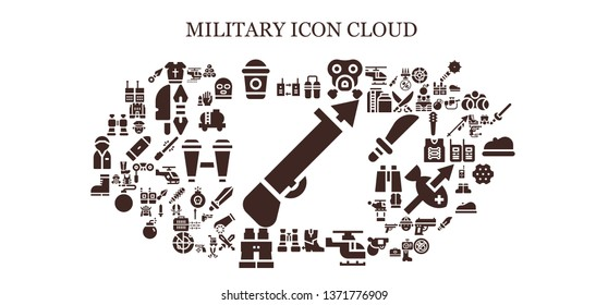 military icon set. 93 filled military icons.  Collection Of - Spear, Walkie talkie, Armour, Frappe, Nunchaku, Gas mask, Boots, Helicopter, Binoculars, Round shot, Kunai, No weapons