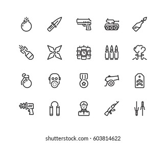 Military icon set, outline style