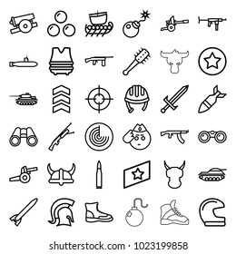 Military icons. set of 36 editable outline military icons such as radar, helmet, soldier emot, boot, binoculars, bomb, rocket bomb, knight, sword, mace, cannon, canon ball
