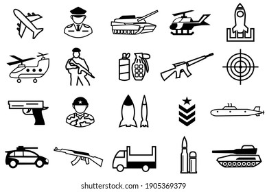Military Icons Set. Army symbol collection. contain such as icon vehicle, tank, missile truck, bomber, attack helicopter, jet fighter, warship, boat, ship, ammo, guns, submarine. editable file. vector