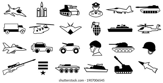 Military icons set. army symbol illustration. tank, altelery, soldier, jet, ammo and more. editable. vector. eps10