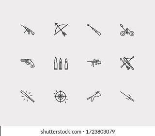 Military icons set. Bat and military icons with archery, aim and harpoon. Set of metal for web app logo UI design.