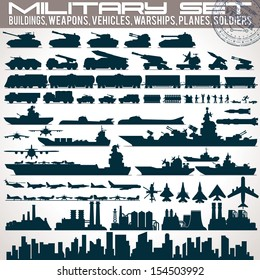 Military Icons Set. Collection of Black Silhouettes Include: Buildings, Weapons, Vehicles, Warships and Vessels, Planes, Trains and Soldiers.