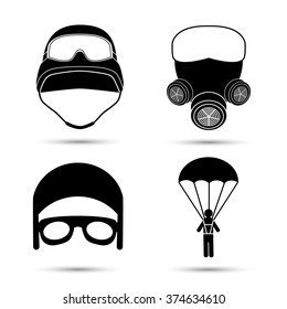 Military Icons. Vector set isolated on white. Helmet, gas mask, parachute