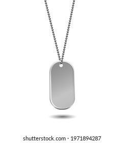 Military ID Tag Army Medallion. Vector illustration of Solder, veteran sign, blank of metallic card on chain