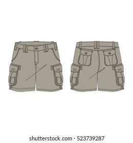 Military Inspired Cargo Shorts Template