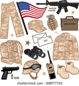 Military Items. Various items used by the military.