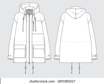 military jacket, front and back, drawing flat sketches with vector illustration by sweettears