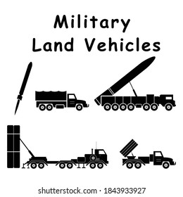 Military Land Combat Artillery Vehicles. Pictogram depicting ground war machines and equipment. EPS Vector