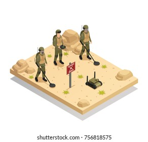 Military landmine clearing equipment with automated  demining robots isometric composition of mines detecting and removal vector illustration