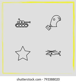 Military line icon set military, panzer and star