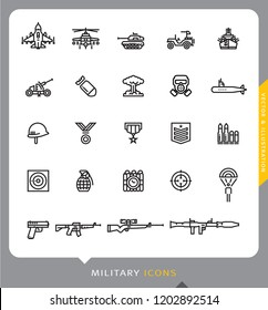 Military line icons set, Vector and Illustration
