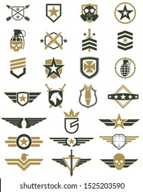 military logo color set / army icons