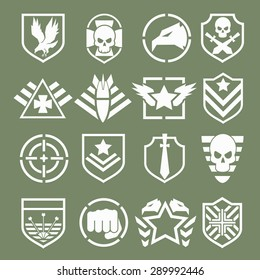 Military logos of special forces set. Army shield, wing and skull. Vector illustration