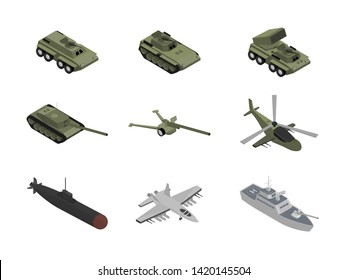 Military machinery isometric illustrations set. BMP, tank and armored personnel carrier. Air, ground and sea armored vehicles. Helicopter and fighter, jet. Heavy war machines. Battleship and submarine