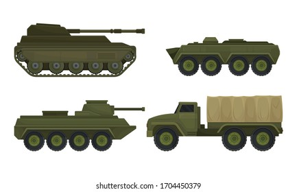 Military Machines and Armored Vehicles Isolated on White Background Vector Set